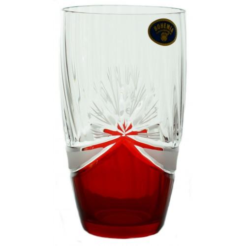 Zestaw Szklanka 6x, szkło bezbarwne - bezołowiowe, kolor rubinowy, objętość 350 ml