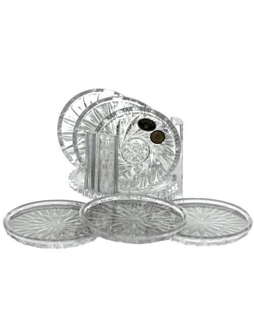 Zestaw spodków 6+1, szkło kryształowe bezbarwne