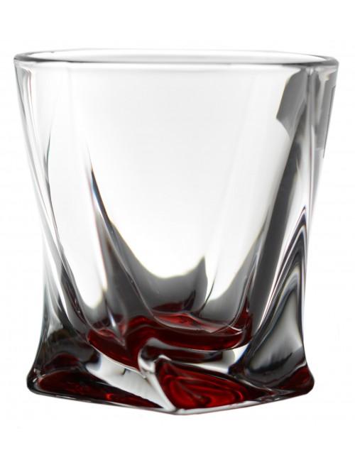 Likierówka Quadro, szkło bezołowiowe - crystalite, kolor rubinowy, objętość 55 ml
