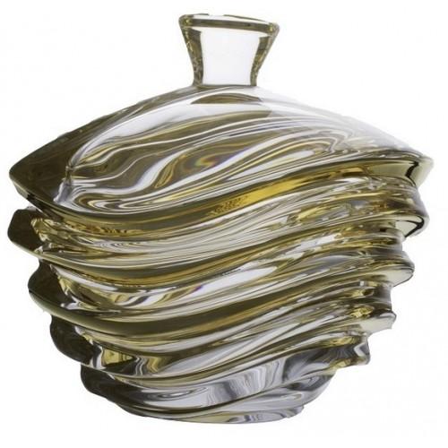 Bomboniera Wave złoto, Szkło bezołowiowe - crystalite, średnica 220 mm