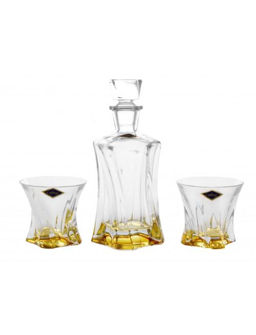 Zestaw do Whisky Cooper 1+2, kolor bursztynowy, szkło bezołowiowe