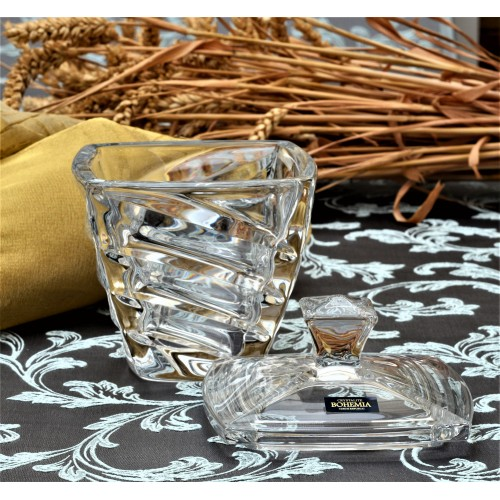 Bomboniera Facet, szkło bezołowiowe - crystalite, średnica 140 mm