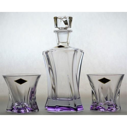 Zestaw do Whisky Cooper 1+2, kolor fioletowy, szkło bezołowiowe