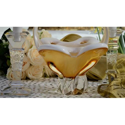 Kosz szkło hutnicze, kolor bursztynowy, wysokość 340 mm