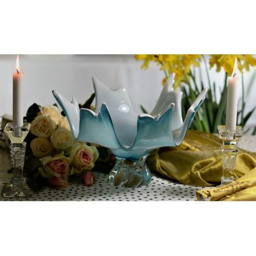 Półmisek szkło hutnicze, kolor turkusowy, średnica 380 mm