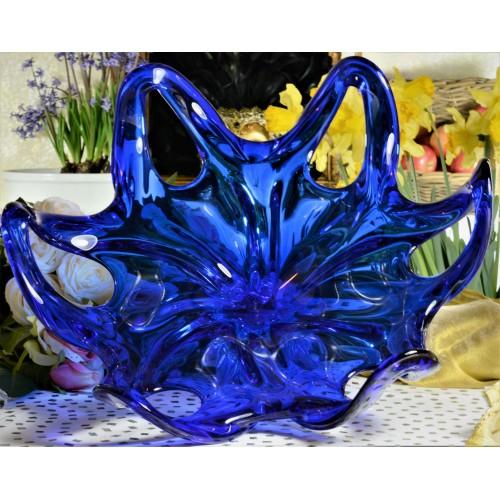 Półmisek szkło hutnicze, kolor niebieski, średnica 400 mm
