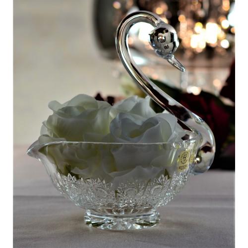 Łabędź 500PK, szkło kryształowe bezbarwne, średnica 140 mm