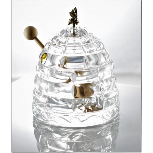 Pojemnik na miód, szkło kryształowe bezbarwne, średnica 118 mm