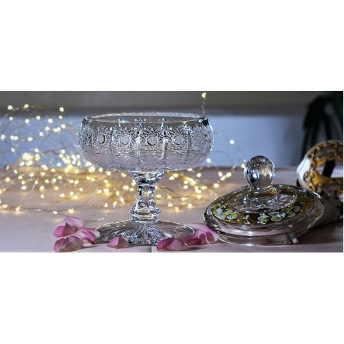 Bomboniera emalia I, szkło kryształowe bezbarwne, wysokość 237 mm