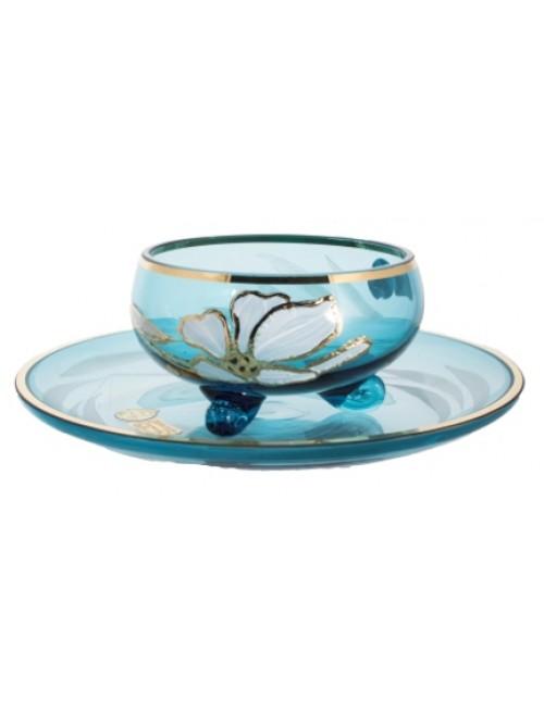 Zestaw Filiżanki do herbaty Kwiat 6+6, kolor turkusowy