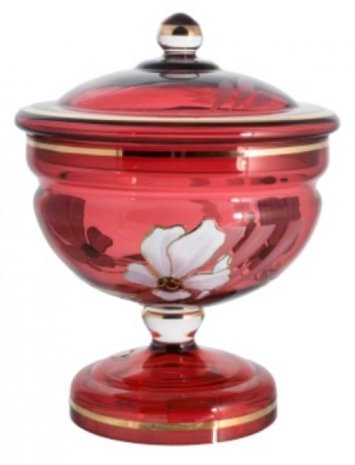 Bomboniera Kwiat, kolor rubinowy, wysokość 215 mm