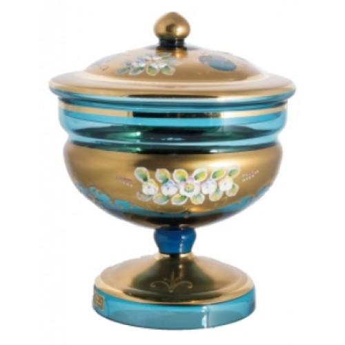 Bomboniera Złoto, kolor turkusowy, wysokość 215 mm