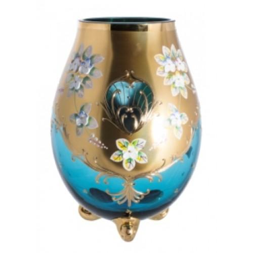 Wazon Złoto, kolor turkusowy, wysokość 260 mm