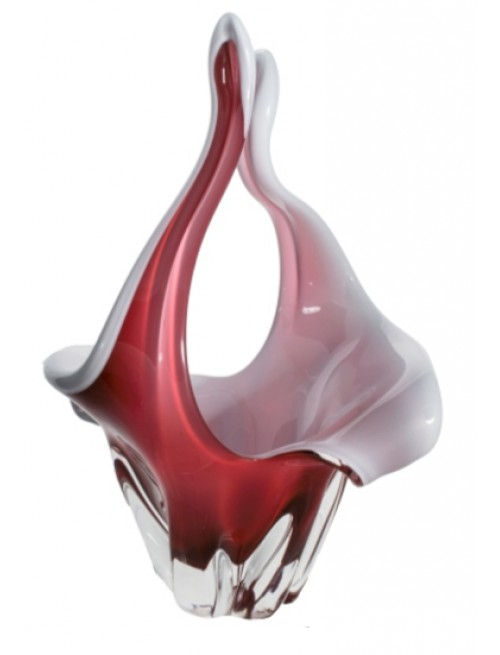 Kosz szkło hutnicze, kolor rubinowy, wysokość 350 mm