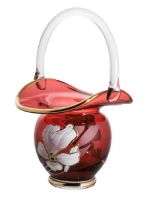 Kosz Kwiat, kolor rubinowy, wysokość 150 mm