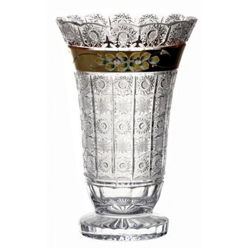 Wazon 500K złoto, szkło kryształowe bezbarwne, wysokość 355 mm