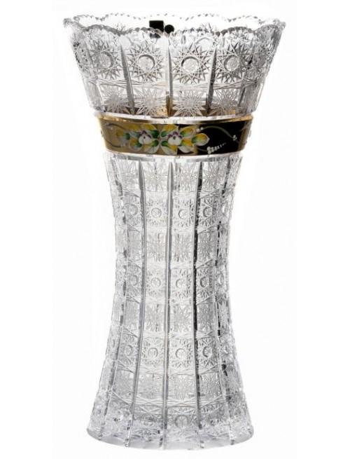 Wazon 500k złoto, szkło kryształowe bezbarwne, wysokość 410 mm