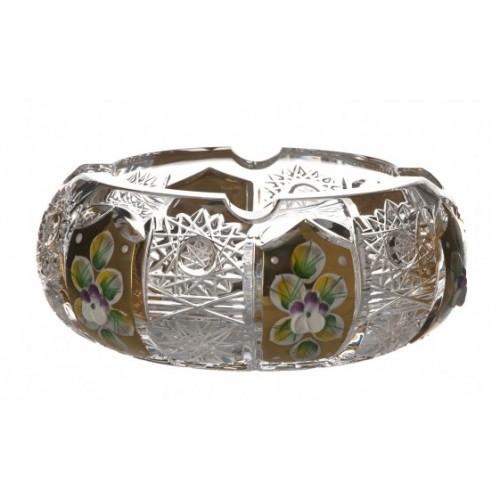 Popielniczka 500PK Złoto, szkło kryształowe bezbarwne, średnica 130 mm