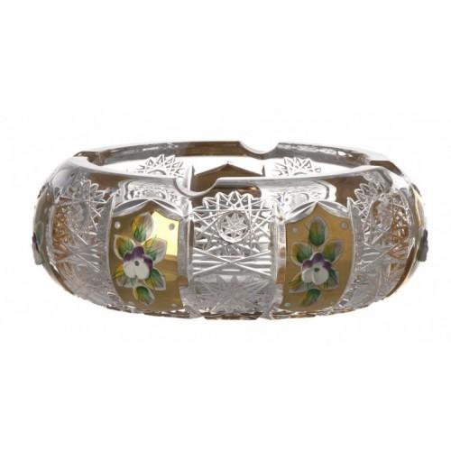 Popielniczka 500PK Złoto, szkło kryształowe bezbarwne, średnica 155 mm