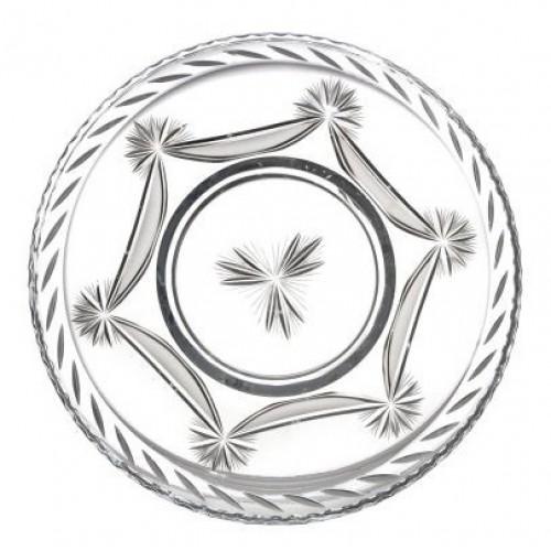 Talerz Kokarda, szkło kryształowe bezbarwne, średnica 440 mm