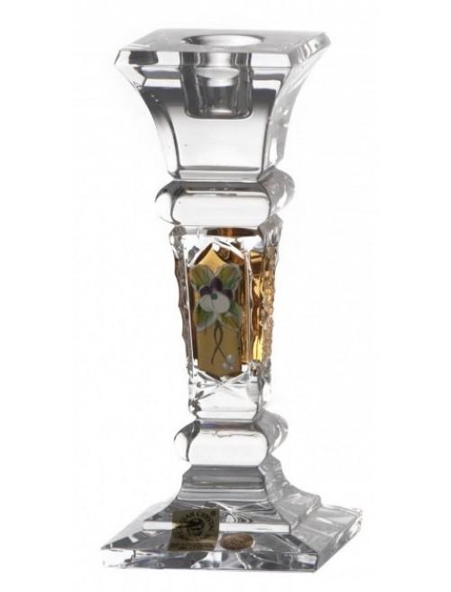 Świecznik 500K Złoto II, szkło kryształowe bezbarwne, wysokość 155 mm