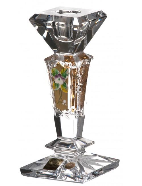 Świecznik 500K Złoto, szkło kryształowe bezbarwne, wysokość 155 mm