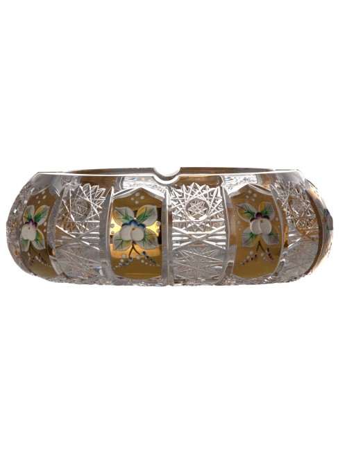Popielniczka 500K Złoto,  Szkło kryształowe bezbarwne, średnica 180 mm