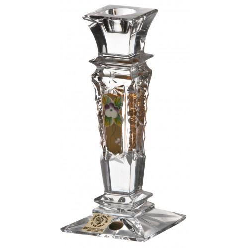 Świecznik 500K Złoto, szkło kryształowe bezbarwne, wysokość 150 mm