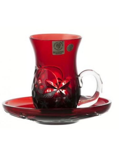 Zestaw Winogrona kubek + talerz, kolor rubinowy, objętość 100 ml