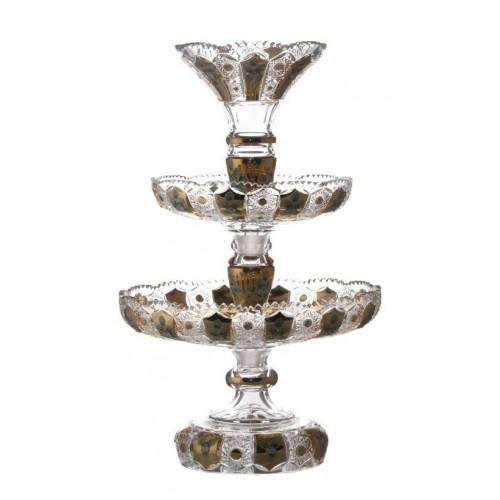Patera piętrowa emalia, szkło kryształowe bezbarwne, wysokość 590 mm
