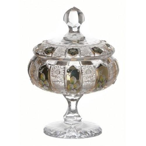 Bomboniera emalia, szkło kryształowe bezbarwne, wysokość 262 mm