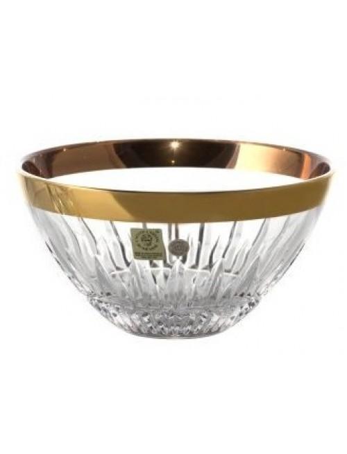 Półmisek Cierń+złoty prążek, szkło kryształowe bezbarwne, wielkość 155 mm