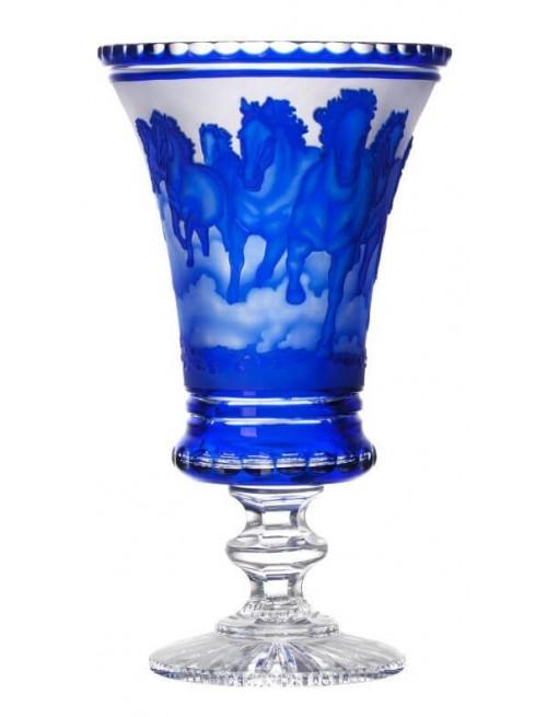 Wazon Biegnące konie - stado, kolor niebieski, wysokość 475 mm