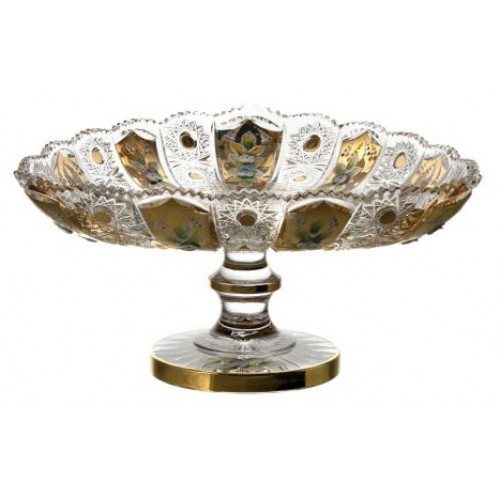 Patera 500K Złoto, szkło kryształowe bezbarwne, średnica 315 mm
