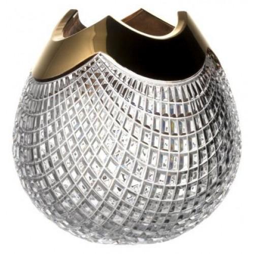 Wazon Quadrus złoto, szkło kryształowe bezbarwne, wysokość 250 mm