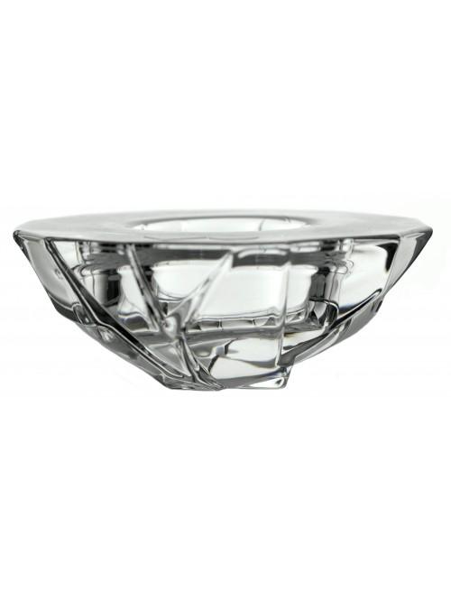 Świecznik Crack mały, szkło kryształowe bezbarwne, średnica 111 mm