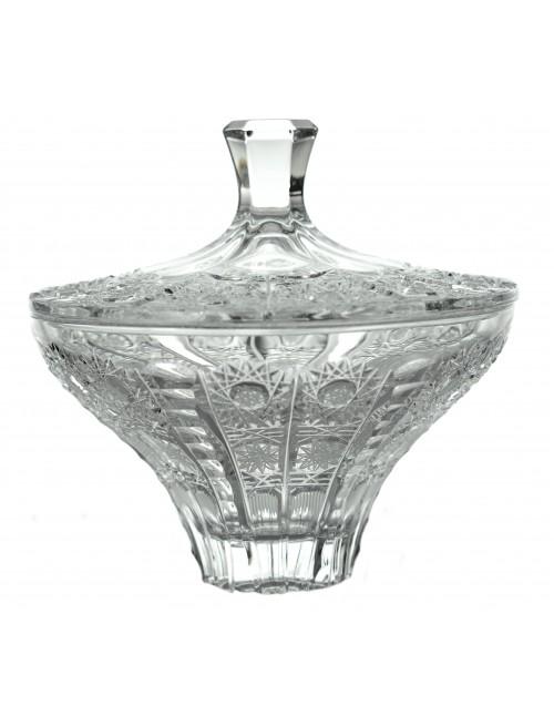 Bomboniera 500PK, szkło kryształowe bezbarwne, średnica 160 mm