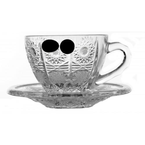 Zestaw Filiżanki do herbaty 6+6, 500PK, szkło kryształowe bezbarwne