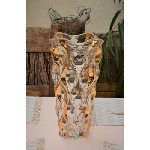Wazon Samba złoto, Szkło bezołowiowe - crystalite, wysokość 305 mm