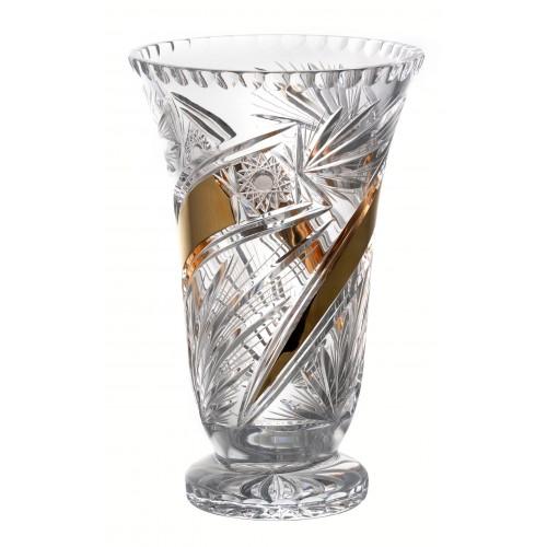 Wazon Kometa Złoto, szkło kryształowe bezbarwne, wysokość 305 mm